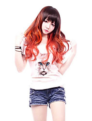 Zipper Mellow Lady Brown and Red Mixed Punk Lolita Wig