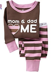 Waboats Kids Girl Boy Mom & Dad Love Me Stripe 2-7 Years Pajama Set