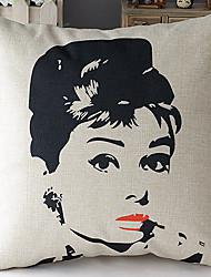 Modern Style Audrey Hepburn Face Patterned Cotton/Linen Decorative Pillow Cover
