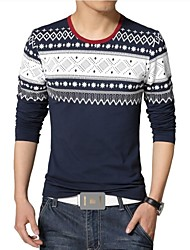 Men's New Retro Printing Long Sleeve T-Shirt (Cotton/Polyester)