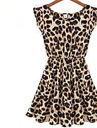 женская новейший сексуальный леопарда шифона платье