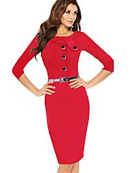 Women's Bodycom ¾ Length Sleeve Dress with Belt