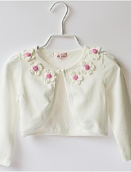 Girl's Spring/Fall Pink and White 2-10 Years Old Medium Long Sleeve Cardigan Coat(Cotton/Spandex)