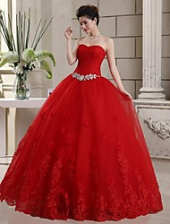 Ball Gown Wedding Dress - As Picture (color may vary by monitor) Floor-length Sweetheart Lace/Tulle