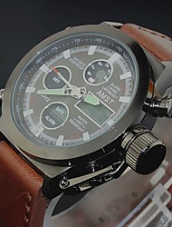 Men's Luxury Cow Leather Sport Military Watch Quartz Analog-Digital LED/Calendar/Chronograph/Water Resistant