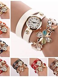 Damen Modeuhr Quartz Leder Band Glanz / Blume Schwarz / Weiß / Blau / Rot / Orange / Grün / Rosa / Lila / Marinenblau / Rose Marke-