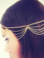 Bohemian Women Metal Tassel Head Chain Jewelry Forehead Dance Headband