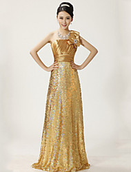 Formal Evening Dress - Gold Plus Sizes A-line One Shoulder Floor-length Lace
