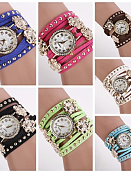 Women's Round Diamante Dial Sunfllower   Leather Quartz Analog Fashion Bracelet Watch (Assorted Colors)C&D152 Cool Watches Unique Watches