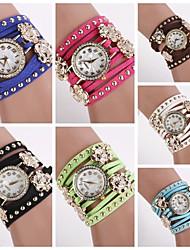 Mulheres Relógio de Moda Quartzo PU Banda Brilhante Preta Branco Azul Vermelho Marrom Verde