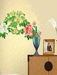 etiqueta de la pared del pvc patrón de flores de estilo chino