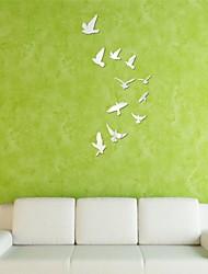 Mirror Wall Stickers Wall Decals, DIY 11PCS Birds Mirror Acrylic Wall Stickers