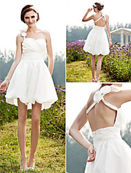 Lanting Bride A-line / Princess Petite / Plus Sizes Wedding Dress-Short/Mini One Shoulder Taffeta