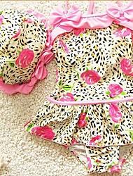 Girl's Cap Flowers Leopard Swimsuit