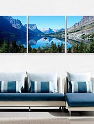 e-FOYER toile tendue art du lac et de la décoration de montagne peinture ensemble de trois