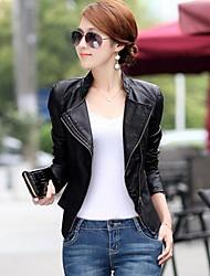 Women's V Neck PU Leather Jacket