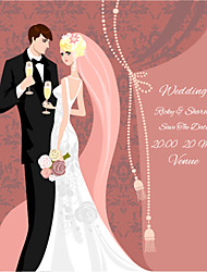 Personalized Wedding Invitations Classic Bride & Groom Pattern Save The Date Paper Card 15cm x 12.5cm 50pcs/Set