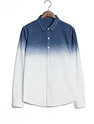 Men's Long Sleeve Shirt , Cotton Work/Formal Pure