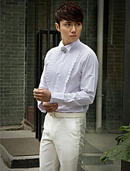 Shirts Tuxedo Long Sleeve Cotton/Polyester Solid White