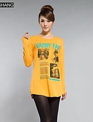 bs®women Die langärmlige Pullover lose Passung Baumwolldruck-T-Shirt