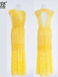 Women's Hollow Out Backless Lace Sexty Party Maxi Dresses