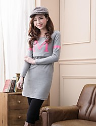 Women's Sexy/Casual Micro-elastic Long Sleeve Long Maternity T-shirt (Cotton)Dress
