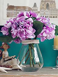 seis hortênsias roxas leves flores artificiais com vaso