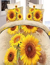 Duvet Cover Set,Polyester 3D Effect Sunflower Image Printed 4pcs Bedding Sheet set Queen Size