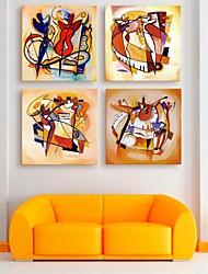 E-Home® Leinwand bist der Spieler Dekoration Malerei Set von 4
