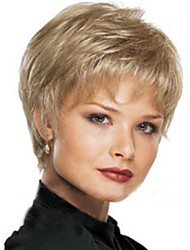European and American Fashion Lady Natural Curved Short Blond Hair