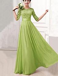 Women's Maxi Inelastic ½ Length Sleeve Maxi Dress (Chiffon)