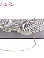 Anladia Wavy Satin Handbag Ladies Crystal Wedding Evening Bag Party Clutch Purse