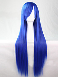 Cosplay Fashion Must-have Girl Blue Quality Long Straight Hair 80 cm Wig