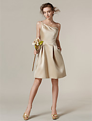Knee-length Satin Bridesmaid Dress A-line One Shoulder Plus Size / Petite with Pockets / Side Draping