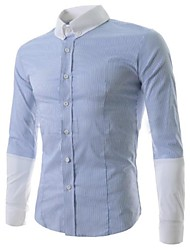 Men's Long Sleeve Shirt , Cotton/Polyester/Roman Knit Casual Striped