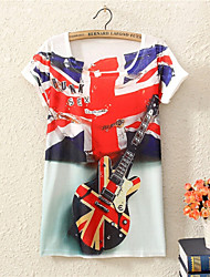 Women's CLOTHING O-Neck 2015  Fashion Summer Dress Top Sale Print Fashion Union Jack Style T Shirt(Cotton Blends)