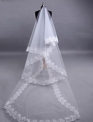 Wedding Veil Three-tier Fingertip Veils Lace Applique Edge