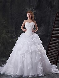 Ball Gown Cathedral Train Wedding Dress -Sweetheart Tulle