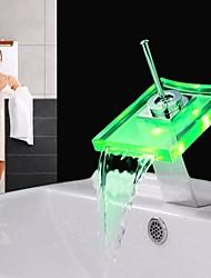 lavabo changement de couleur du robinet en laiton cascade conduit robinet de haute qualité (finition chromée)