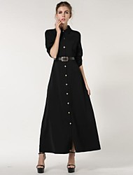 Women's Dress,Solid Shirt Collar Maxi Long Sleeve Black Cotton Winter