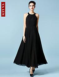 vestido maxi halter Yalun ™ de alta calidad de las mujeres de la moda clásica de la gasa delgada sexty