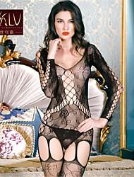 Jarretelles & Bretelles Lingerie en Dentelle Ultra Sexy Vêtement de nuit Femme Jacquard Nylon Spandex Noir