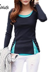 NUO WEI SI ® Women's V Neck Korean Style Long Sleeve Blouse