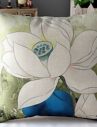 Chinese Painting White Lotus Patterned Cotton/Linen Decorative Pillow Cover