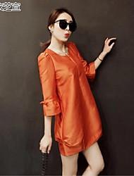 Women's Pink/Green/Orange Dress , Casual ¾ Sleeve