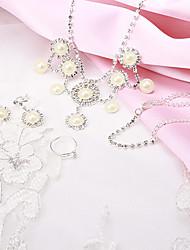 Fashion Luxury Pearl Rhinestone Silver Copper Jewelry Set(1 Set)