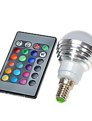 3W E14 Lâmpada Redonda LED 300 LM lm RGB Controle Remoto AC 100-240 V 1 pç