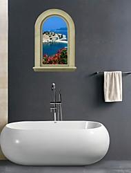 Pegatinas de pared de etiquetas de la pared 3d, la ciudad costera de baño decoración mural de pvc pegatinas de pared