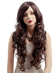 Fashion big wave inclined bang long brown hair
