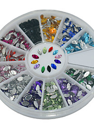 600Pcs 12 Color Rice Shape Acrylic Diamond Nail Art  Decoration kits